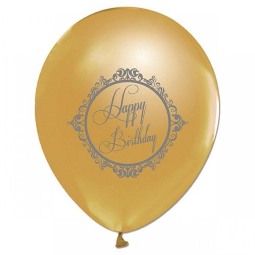 Happy Birthday Baskılı Gold Balon 10 Adet