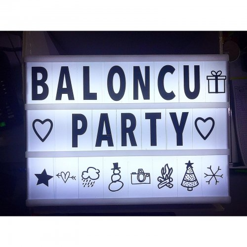 Baloncu Party Işıklı Dekoratif Mesaj Panosu Light Box